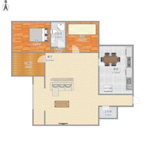 丽景花园2室1厅2卫1厨143.00㎡户型图