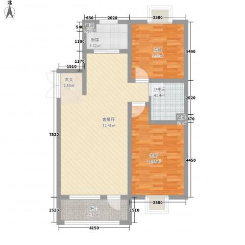 宝地-福湾2室1厅1卫1厨216.00㎡户型图