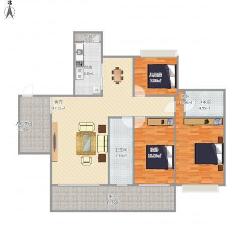 阳光海岸二期悦湾3室1厅2卫1厨161.00㎡户型图