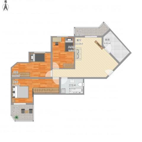 国电中兴嘉园3室1厅1卫1厨105.00㎡户型图