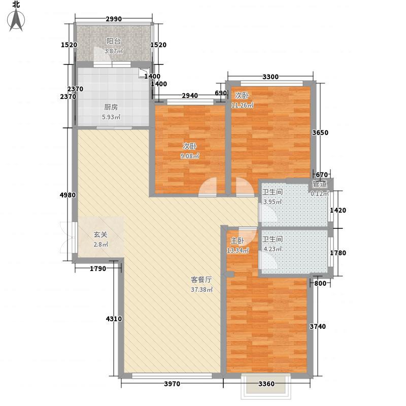 中原・德景园121.62㎡15#A户型3室2厅2卫