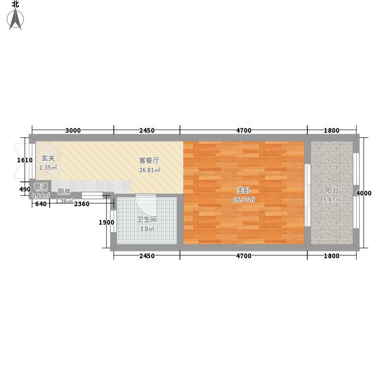城东湖公馆117.26㎡平层E1户型1室1厅1卫1厨