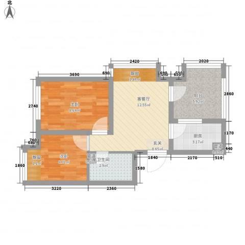 钓鱼台三号院2室1厅1卫1厨40.05㎡户型图