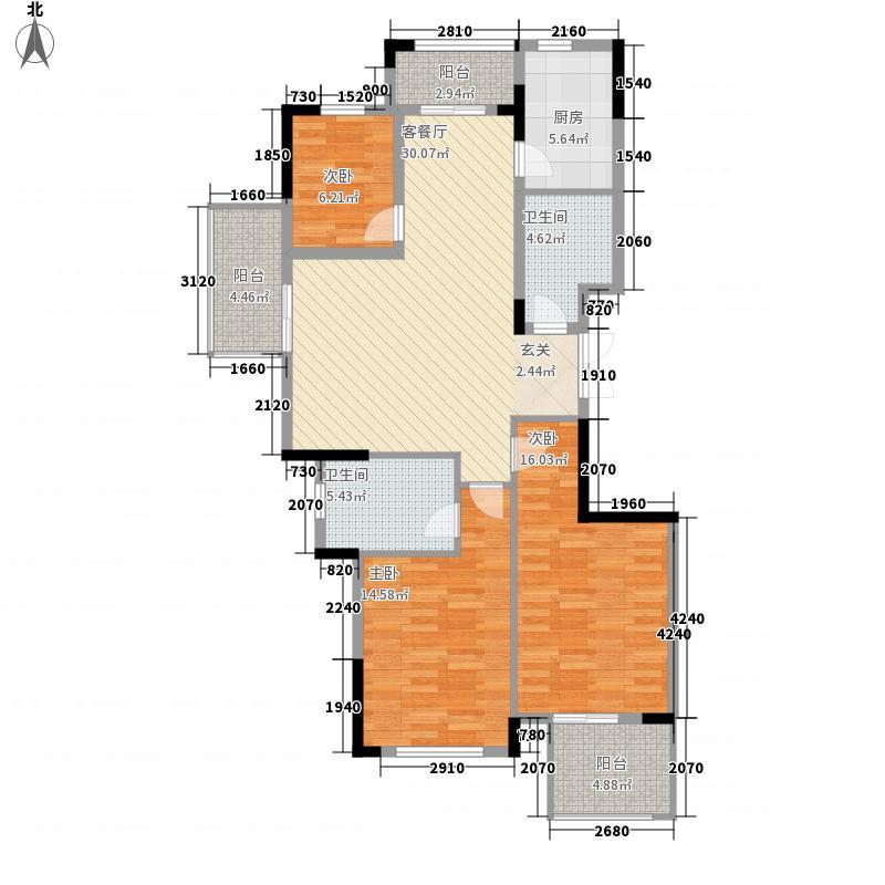 黄山公馆134.25㎡1#A1户型3室2厅2卫1厨