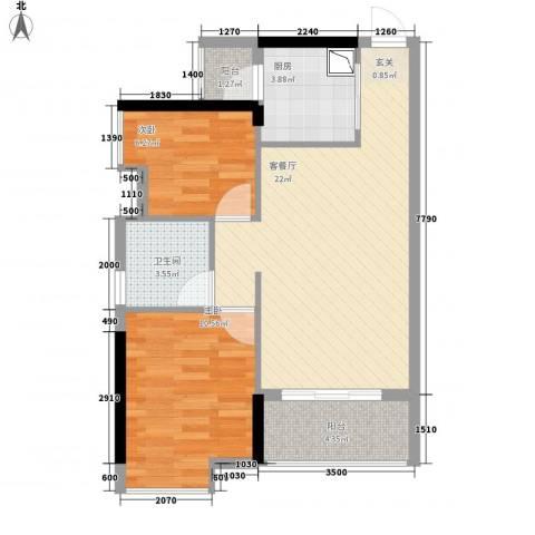 怡和苑2室1厅1卫1厨59.50㎡户型图