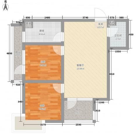 钓鱼台三号院2室1厅1卫1厨83.00㎡户型图