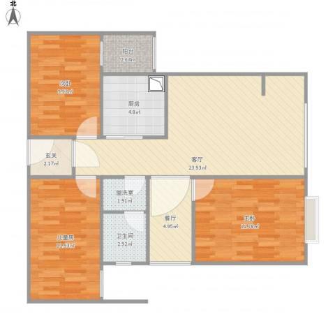 万星嘉和时代3室3厅1卫1厨106.00㎡户型图