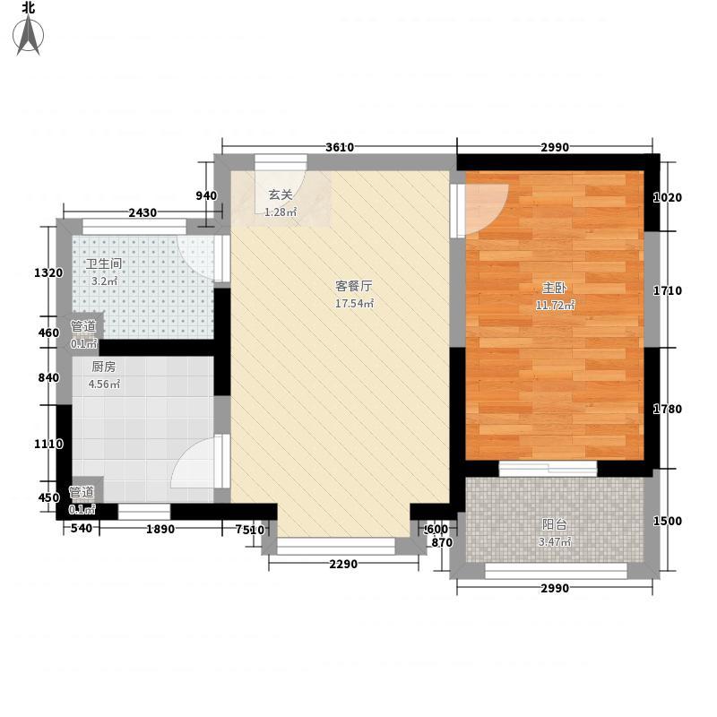 隆湾帝园55.64㎡一户型1室1厅1卫1厨