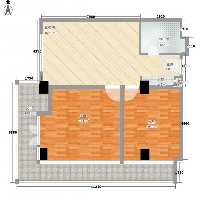 荣盛・戴河首岭2室1厅1卫0厨108.07㎡户型图