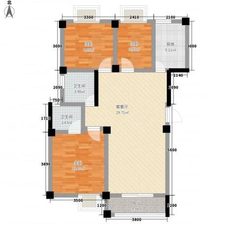 太阳城3室1厅2卫1厨104.00㎡户型图