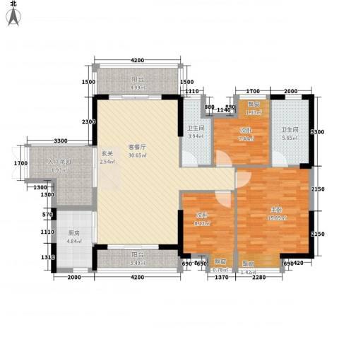 东方家园3室1厅2卫1厨91.95㎡户型图