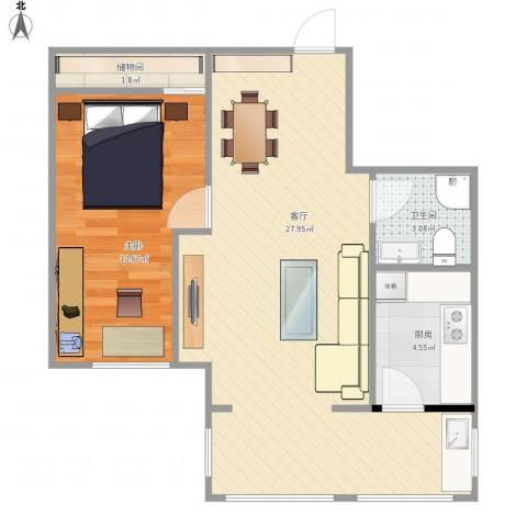 南郡二期丽郡1室1厅1卫1厨68.00㎡户型图