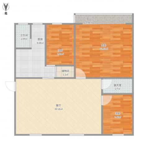 工人新村3室2厅1卫1厨109.00㎡户型图