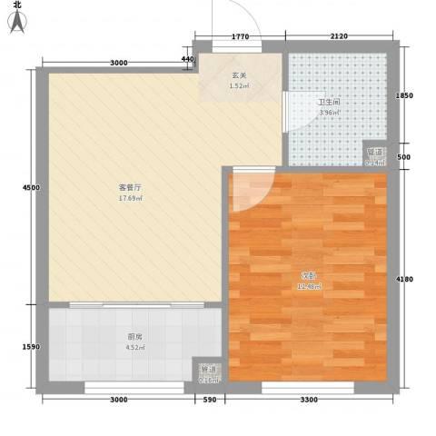 金御蓝湾1室1厅1卫1厨55.00㎡户型图