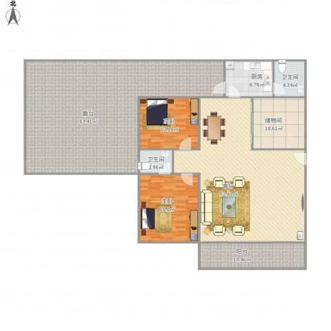恒福湖景湾2室1厅2卫1厨236.00㎡户型图
