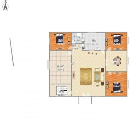 上都名苑3室2厅1卫1厨279.00㎡户型图