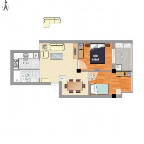 书香丽景2室1厅1卫1厨73.00㎡户型图
