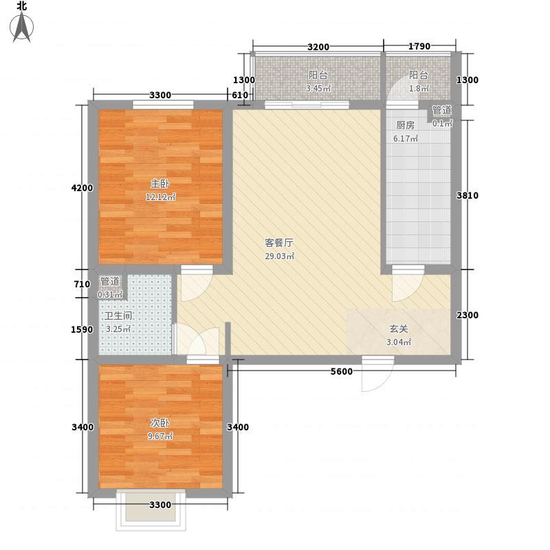 东林家园2.00㎡G户型2室2厅1卫1厨
