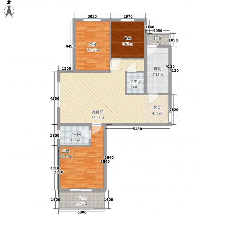 东林家园124.60㎡A户型3室2厅2卫1厨