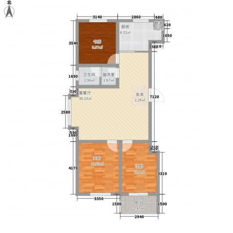 冠华园3室2厅1卫1厨112.00㎡户型图