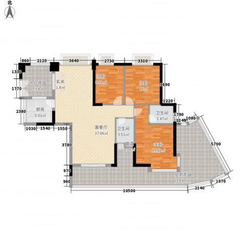 星际豪庭3室1厅2卫1厨127.45㎡户型图