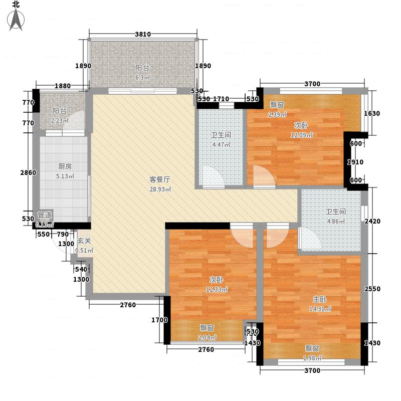东方玫瑰园1.80㎡2栋02户型3室2厅2卫1厨