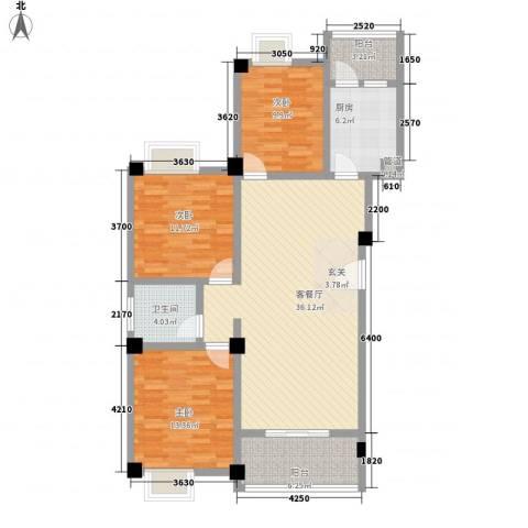 荣华山庄二期温情港湾3室1厅1卫1厨90.92㎡户型图