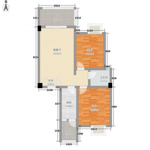 荣华山庄二期温情港湾2室1厅1卫1厨87.00㎡户型图