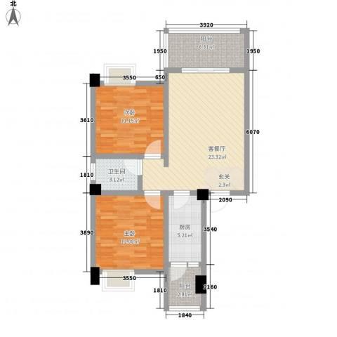 荣华山庄二期温情港湾2室1厅1卫1厨88.00㎡户型图