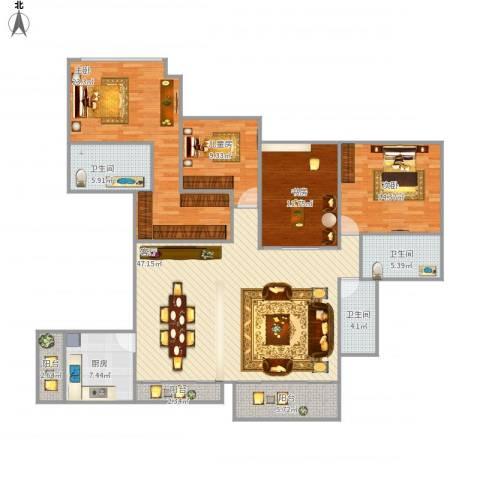 山语清晖花园4室1厅3卫1厨189.00㎡户型图