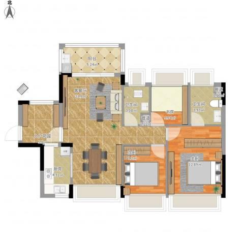 尚书悦府3室1厅2卫1厨101.00㎡户型图
