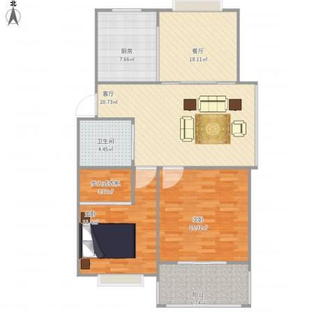 兴越小区2室2厅1卫1厨107.00㎡户型图