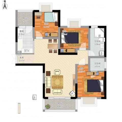 上海城黄浦花苑二期3室1厅2卫1厨114.00㎡户型图