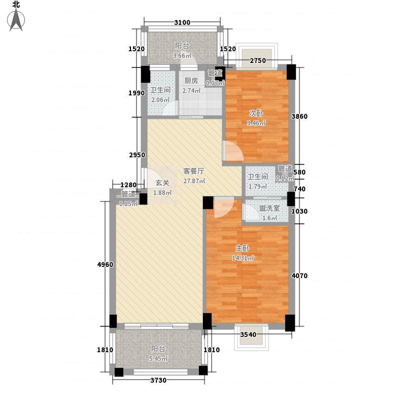华茵・绿洲84.00㎡6幢之二标准层户型2室2厅2卫1厨