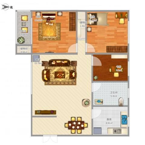 十五家园3室1厅1卫1厨97.00㎡户型图