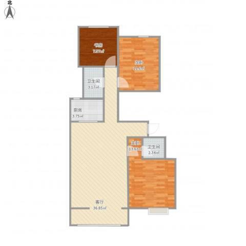 夏洛兹花园3室1厅2卫1厨107.00㎡户型图
