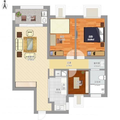 世贸首府3室1厅1卫1厨98.00㎡户型图
