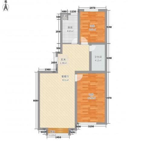 万达嘉园2室1厅1卫1厨95.00㎡户型图
