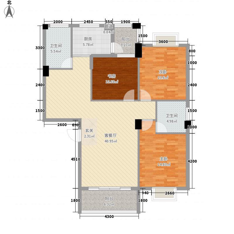 温泉・北门华庭A单张户型3室2厅1卫