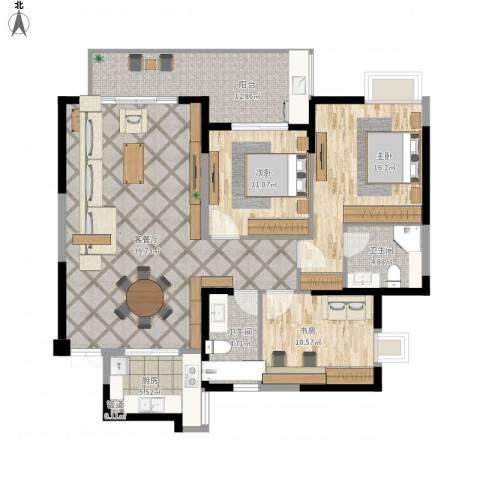 未来海岸系天成3室1厅3卫1厨148.00㎡户型图