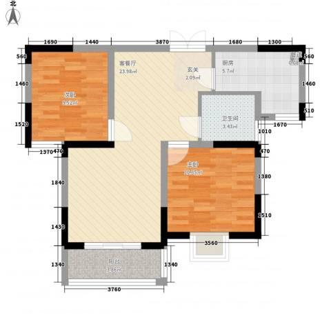 世纪绅城2室1厅1卫1厨83.00㎡户型图