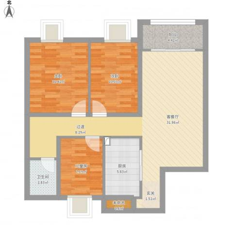世贸首府胡3室1厅1卫1厨109.00㎡户型图