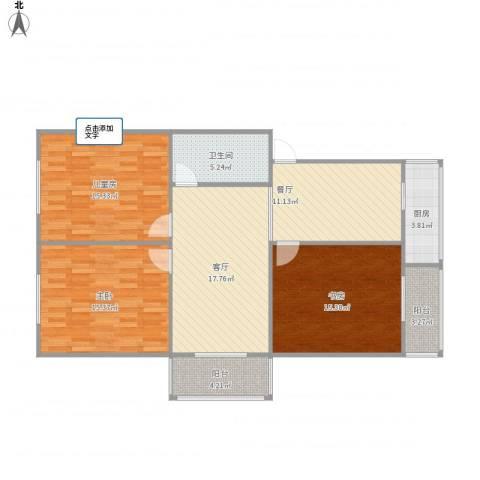 程光里3室2厅1卫1厨123.00㎡户型图