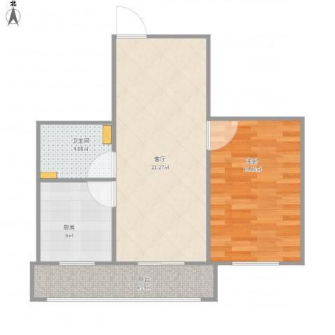 海德公寓1室1厅1卫1厨69.00㎡户型图