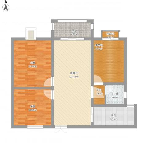 德惠・尚书房2室1厅1卫1厨104.00㎡户型图