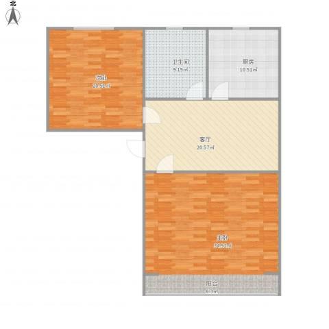 潮鸣苑2室1厅1卫1厨126.00㎡户型图