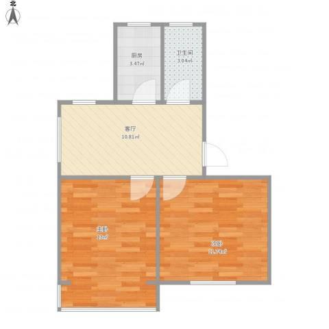 潮鸣苑2室1厅1卫1厨57.00㎡户型图