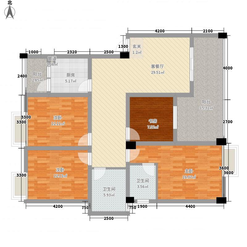 江都栋缤128.40㎡H户型3室2厅2卫