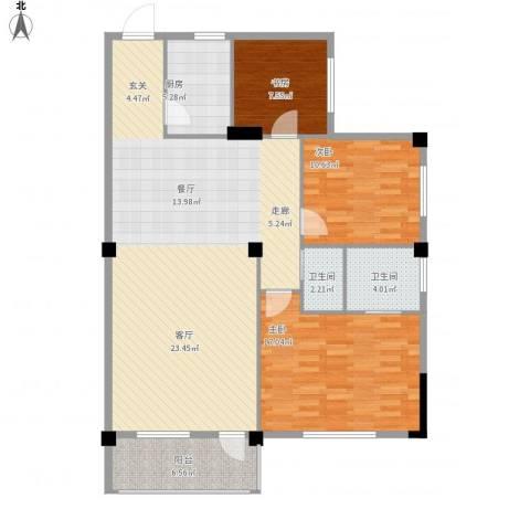 太子花苑3室1厅2卫1厨136.00㎡户型图