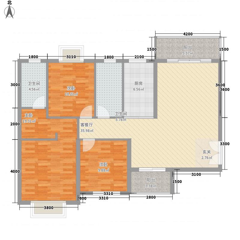 大地碧海龙庭132.18㎡项目户型3室2厅2卫1厨